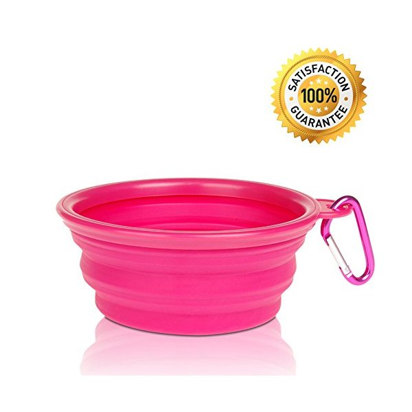 Nom Nom Puppy Collapsible, Eco-friendly, Portable Travel Pet Water Bowl (12 Oz) with Free Bonus Carabiner Belt Clip - Lightweight, Convenient, Travel Cup, Durable, Pop-up, Silicone Dog Bowl - Pet Safe - 100% Satisfaction Guaranteed (Pink)