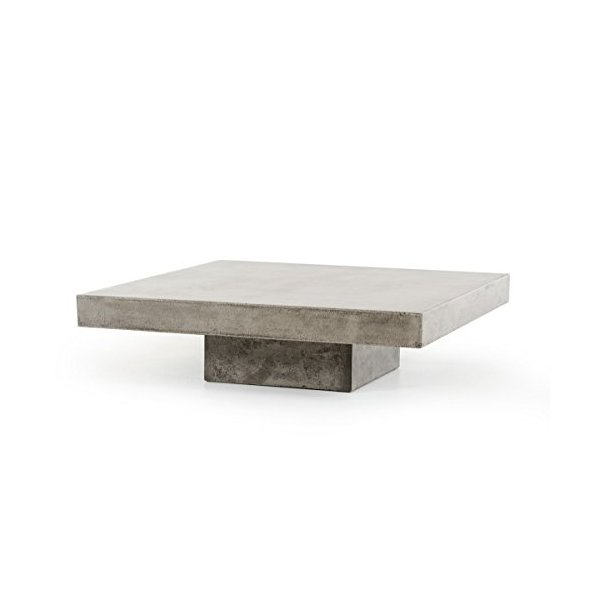 "Limari Home LIM-70352 Ellis Collection Modern Style Concrete Living Room Coffee Table, 12"" Tall, Grey"