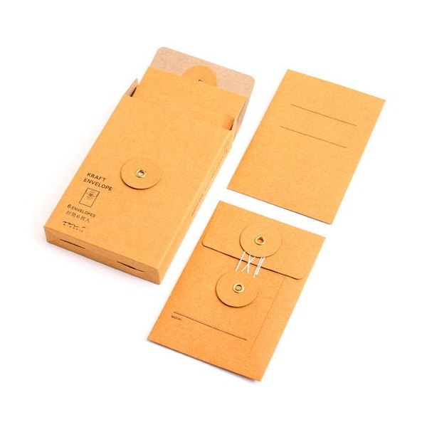 Traveler's Notebook Kraft Envelope with string, small orange