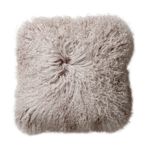 Bloomingville Square Mongolian Lamb Fur Pillow, Grey