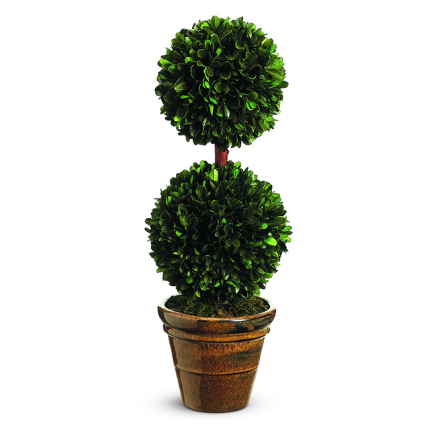 Silk Decor Preserved Boxwood Double Ball Topiary