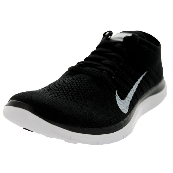 Nike Mens Free Flyknit 4.0 Running Shoes Black/White/Dark Grey 631053-001 Size 10