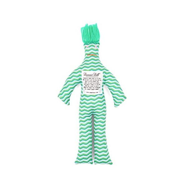 Dammit Doll - Classic Dammit Doll - Mer Frais - Chevron Sea Glass, Grass Green Hair - Stress Relief, Gag Gift