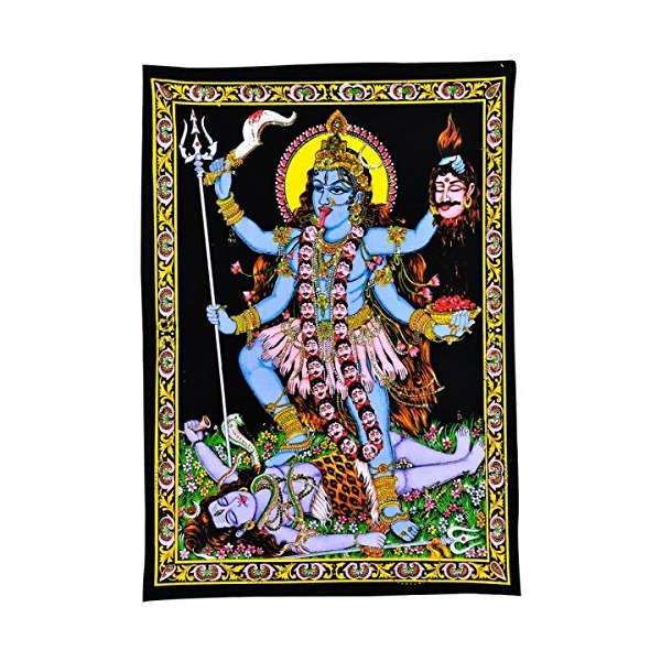 Gangesindia Goddess Kali Mata - Sequin Decorated Cloth Print Wall Decor
