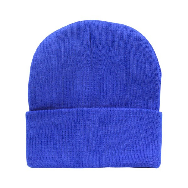 Blank Hat Knit Beanie Cap in Royal Blue