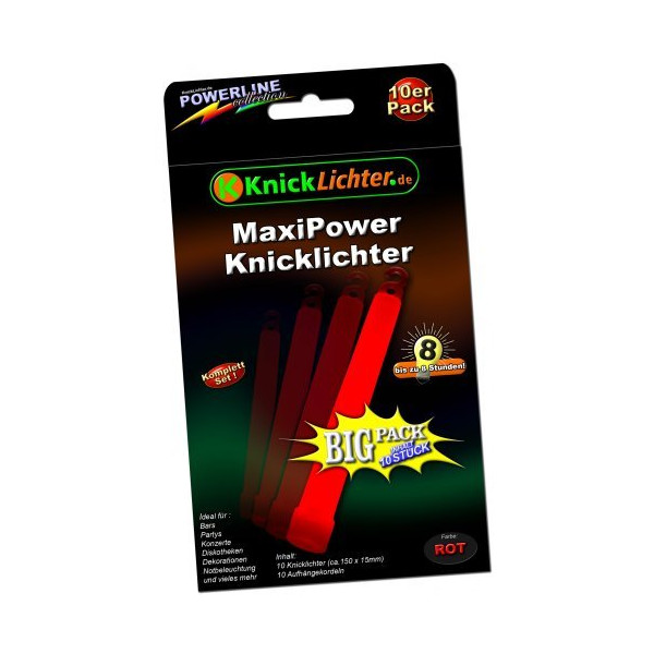 "10 x 6"" Glow Sticks RED. MAXXX Power! ""Military Quality""! PREMIUM-Class! Factory-Fresh! Thick Light Sticks 150mm height! Neon bright Power! Latest Generation!"