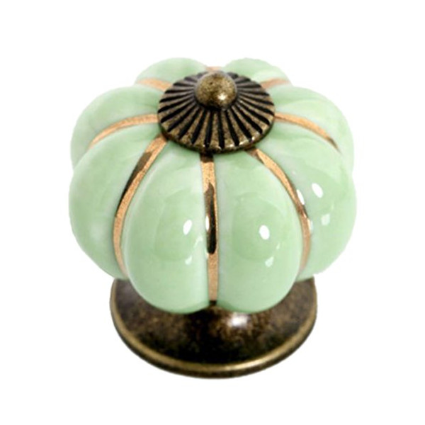 9 COLORS Ceramic Handle Pull Knobs Cabinet Pumpkin Door Cupboard Drawer Locker