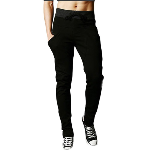 Mooncolour Men's Casual Jogging Harem Pants Zip Pockets (M, Black)