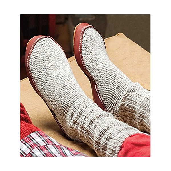 ACORN Cotton Slipper Socks with Suede Outsole, Gray, in Extra Extra Small