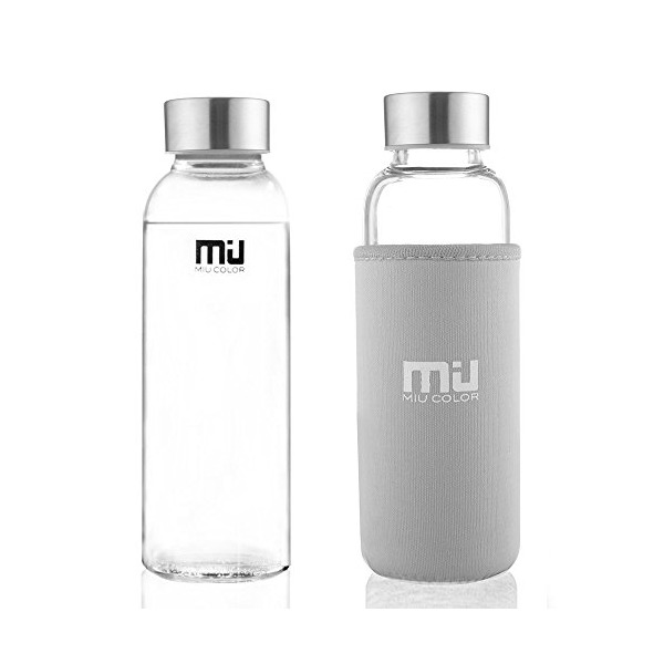 MIU COLOR® Unique and Stylish High-quality Environmental Borosilicate Glass Water Bottle with Colorful Nylon Sleeve, 12 Ounces Without Tea Strainer, Grey Nylon Sleeve, 2 Cleaning Brushes Included