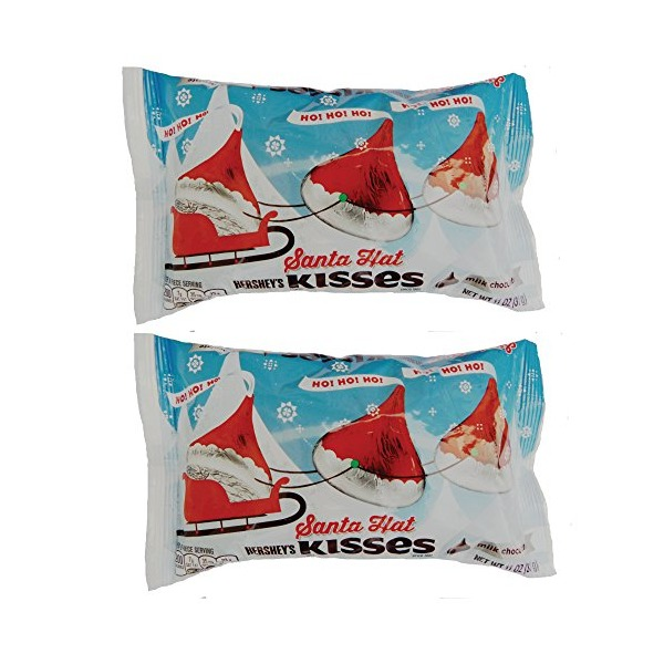 Hershey's Holiday Santa Hat Milk Chocolate Kisses, 11 oz. (Pack of 2)