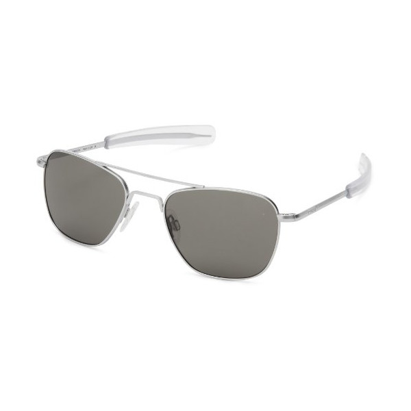 Randolph Aviator AF54611 Square Sunglasses,Matte Chrome,55 mm