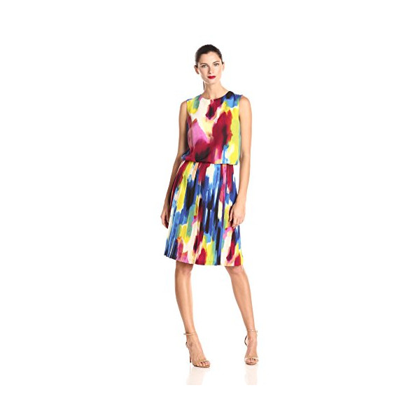 Donna Morgan Women's Sleeveless Rainbow Print Pleated Skirt Dress, Multi, 2