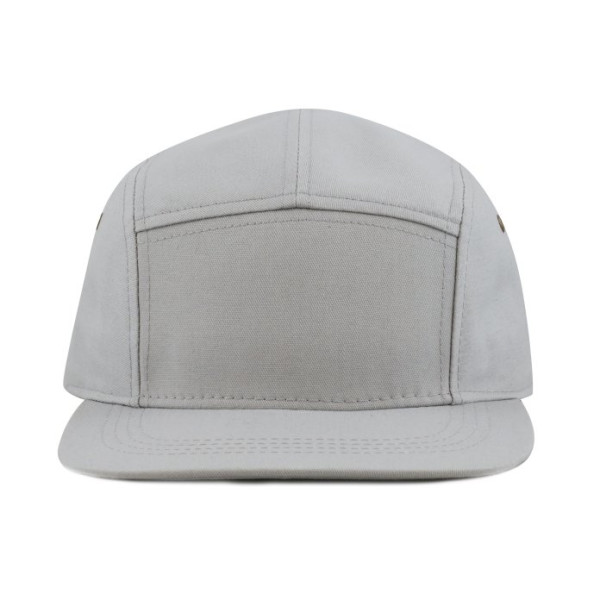 The Hat Depot Made In USA 5 Panel Genuine Leather Buckle Closure Flat Brim Biker Cap, Grey