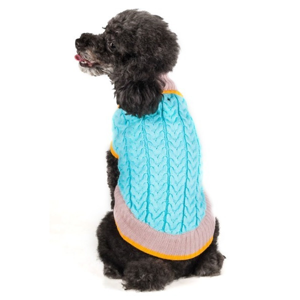 Blueberry Pet Cable Knit Turtle Neck Small Dog Sweater, Small