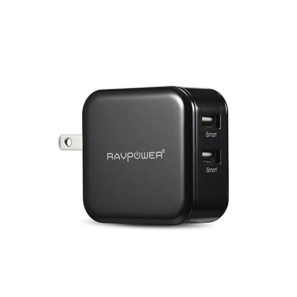 RAVPower® Travel Charger / Wall Charger Dual USB Charge (24W/ 4.8A, Swivel Plug),designed for iPhone 6, 5s, 5c, 5, 4s, 4; iPad 5, Air, Mini; iPod Touch, Nano; Samsung Galaxy S5, S4, S3, S2, Galaxy Note 3, 2;lg G2; Nexus 5, 7; Motorola Droid Razr Maxx; Bla