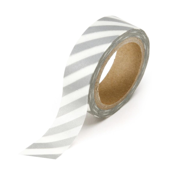 Roll of Japanese Inspired Washi Tape, White with Silver Stripes