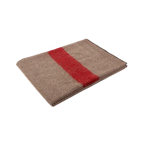 Rothco Swiss Style Wool Blanket, Tan/Red Stripe