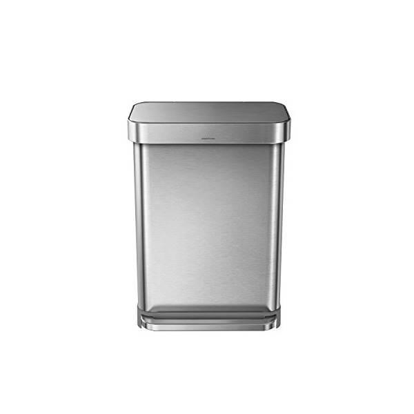 simplehuman Liner Rim Rectangular Step Trash Can with Liner Pocket, Stainless Steel, 55 Liter / 14.5 Gallon