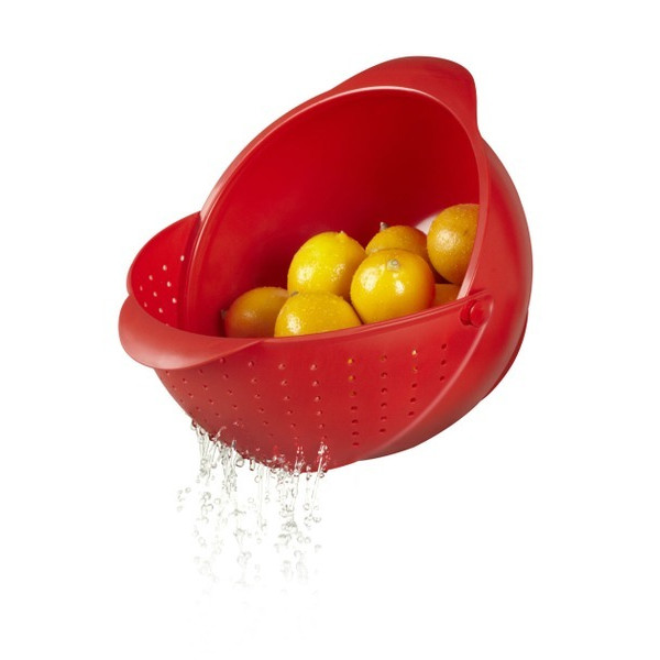 Umbra Rinse Bowl and Strainer - Red
