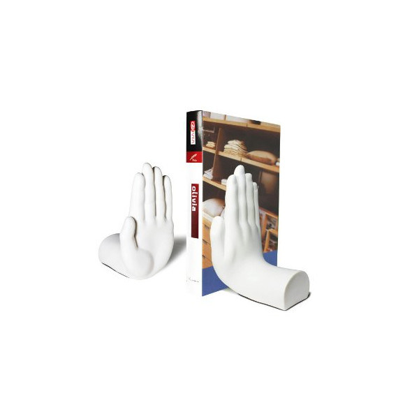 """Stop"" Hands Bookend Pair by LilGift (WHITE)"