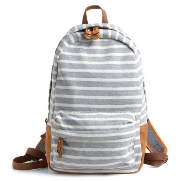 J. Carrot Striped Fleece Backpack Bag