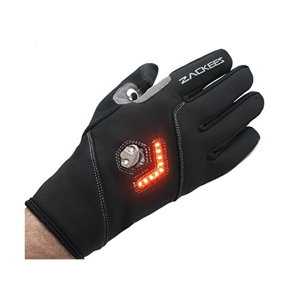 Zackees LED Turn Signal Bike lights in cycling gloves, light up your bicycle ride with the best reviewed bike turn signals! (Winter Black, Large)