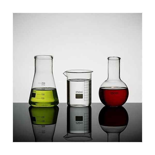Erlenmeyer Flasks Lab Science Glass Set of 3