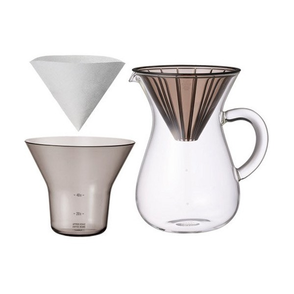 "1.1 Liter Carafe Coffee Set with 20 Filters by Kinto for ""Slow"" Coffee"