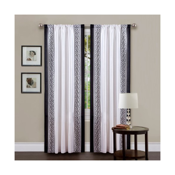 Triangle Home Fashions 18641 Lush Decor 84-Inch Metropolitan Curtain Panel, White/Black