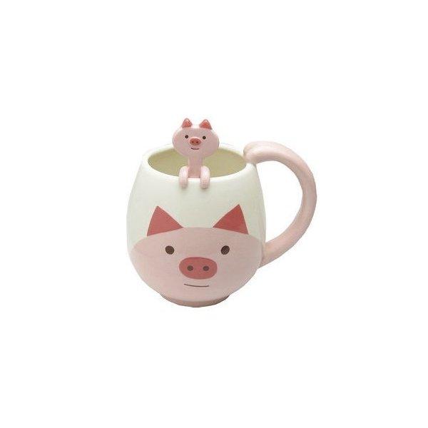 Decole Pig Manmaru Mug + Spoon