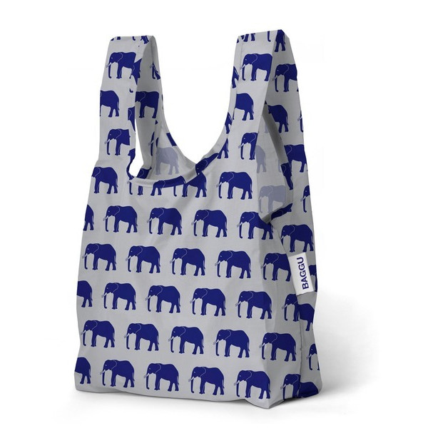 Baggu Small Reusable Shopping Bag, Blue Elephant
