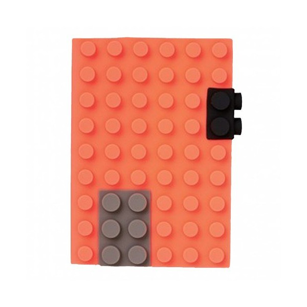 Orange 4x6 Unlined Silicone Building Blocks Cover Notebook with Brick Design Fastening Device