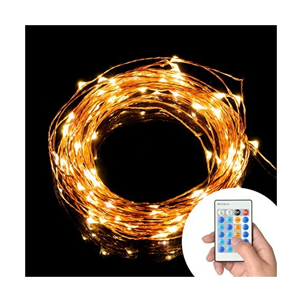 TaoTronics Dimmable Led String Lights Copper Wire 33ft LED Starry Light with UL certified 5v Power Adapter For Christmas Wedding and Party, suitable for indoors or outdoors(Updated Remote Controller)