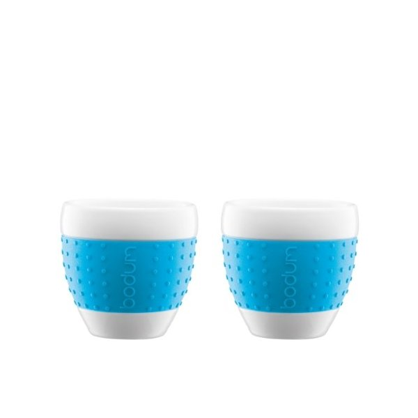 Bodum Pavina 8-ounce Porcelain Mug with Silicone Sleeve Set of 2 - Blue