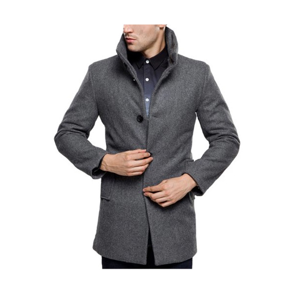 SSLR Men's British Single Breasted Slim Wool Coat Jacket (Small, Grey)
