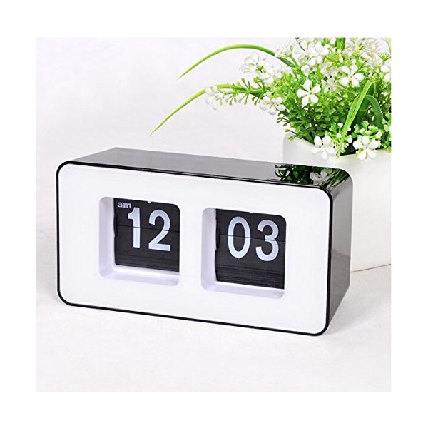 Best-mall Stylish Modern Retro Auto Flip Clock Desk Table File Down Page Clocks(Black)