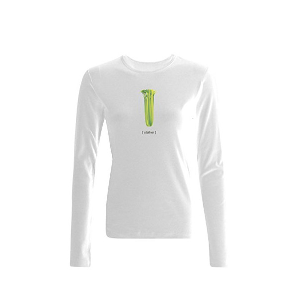 FoodTee Women's Stalker Slim Fit Long Sleeve T Shirt L White