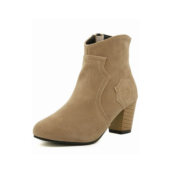 G Antini Women Imitation Suede Vamp Side Zip Patchwork Ankle Booties