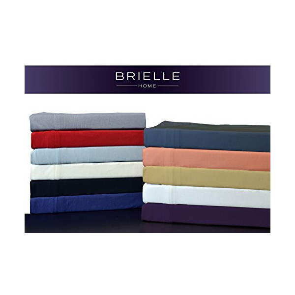 Brielle 100-Percent Modal from Beech Jersey Knitted Sheet Set, Queen, White
