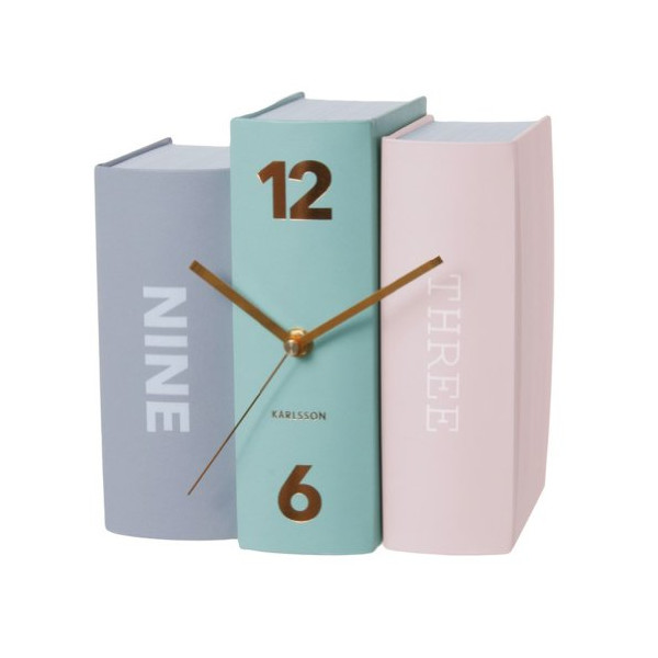 Present Time Karlsson Book Table Clock, Mint Green