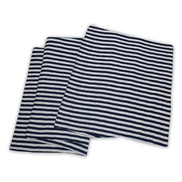 "Impressions Striped Cotton Blanket , King  108"" x 90"" - Navy Blue/White"