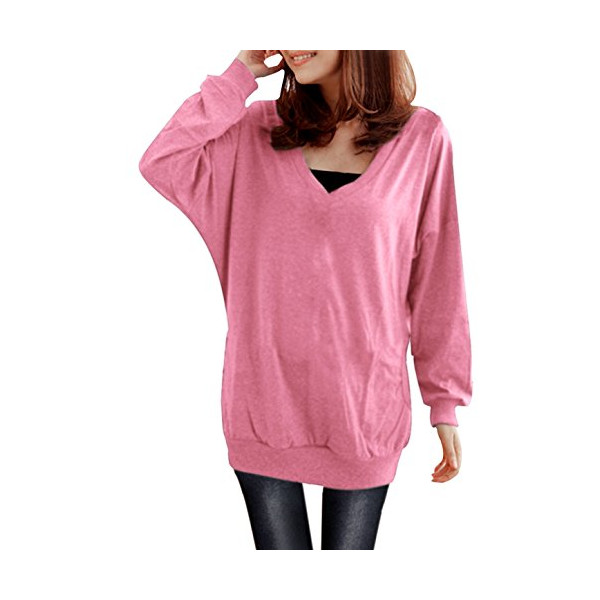 Allegra K Ladies V Neck Long Batwing Sleeve Side Pockets Loose Hoodie Blouse