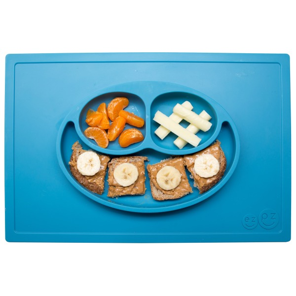 ezpz Happy Mat, One-piece Silicone Placemat, Blue