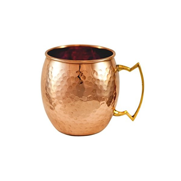 Hammered Pure Copper Moscow Mule Mug with brass handle