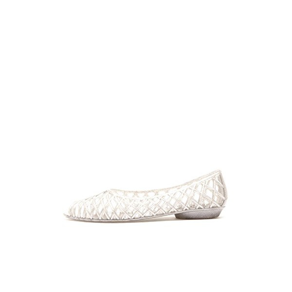 American Apparel Flat Lattice Jelly Sandal - Silver Glitter / US Size 6
