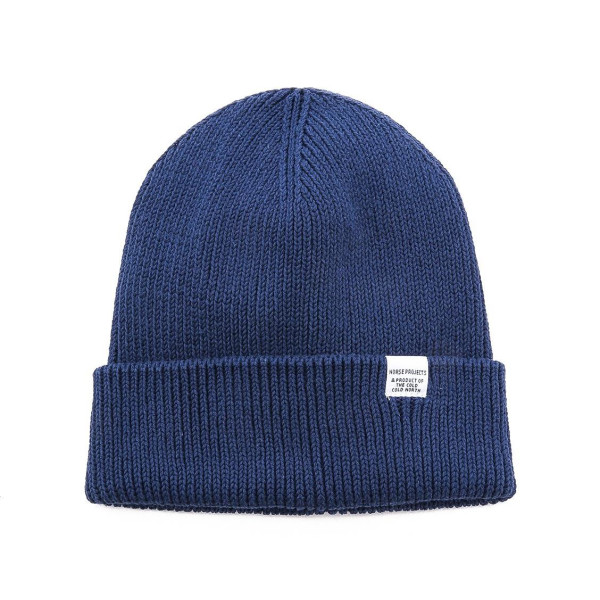 Norse Projects Men's Cotton Watch Beanie, Indigo