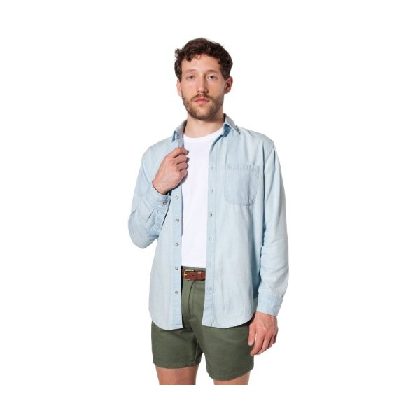 American Apparel Men's Denim Long Sleeve Button-Up with Pocket Medium-Light Wash Indigo