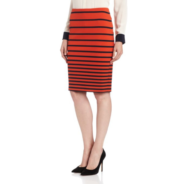 HALSTON HERITAGE Women's Knit Pencil Skirt, Dark Fire Stripe Print, 2