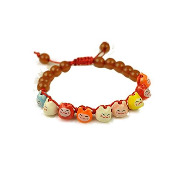 Huan Xun Women's Lovely Ceramic Maneki Neko Friendship Bracelet (1 pcs)